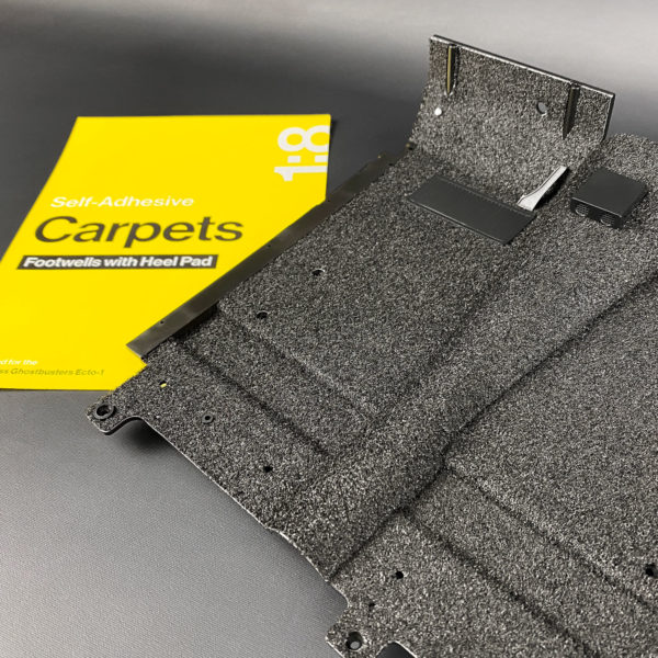 Ecto-1 Self-Adhesive Carpets with Heel Pad attached to footwell